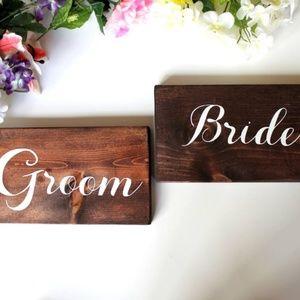 New Handmade Wood Wedding Groom Bride Signs Bridal